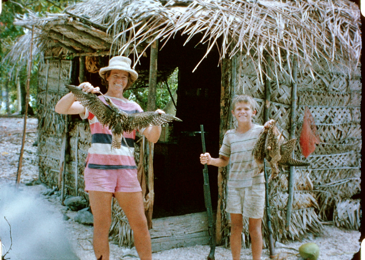 Nancy and Reid, while shipwrecked on an atoll in the Tuamotus.
