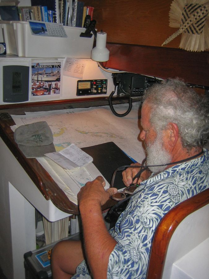 Steve navigating on Gershon II, Solomon Islands
