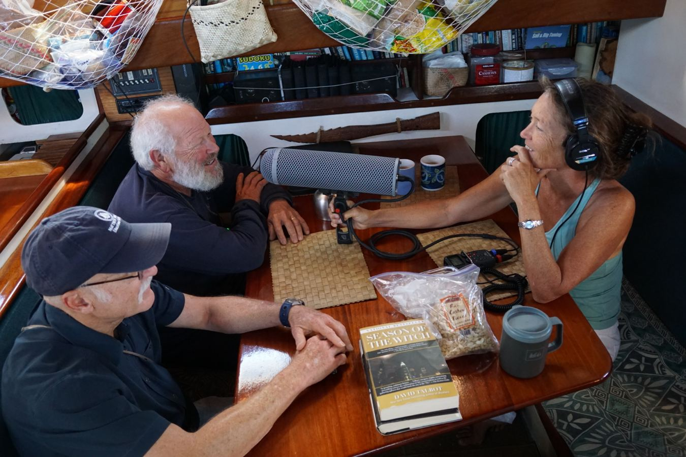 Stephanie interviewing Steve and Terry on the Gershon II, in Australia, 2015