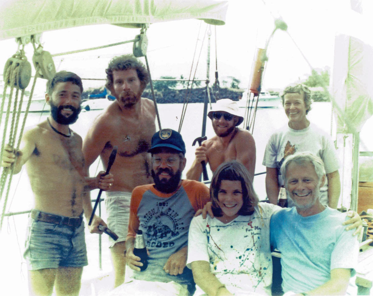 Bruno DeLala  (Currently living on Christmas Island) Dan Gleaseman Bill, a passenger (in foreground) Terry Causey (in background holding hammer) Fiona Griffith (foreground) Nancy Griffith (background) John Vihelsevic, owner, Big Island Marine (foreground)