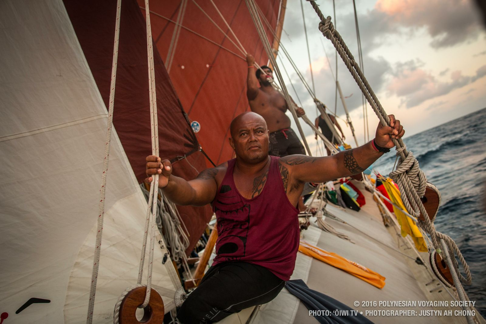 Kalani Kahalioumi, Hokule'a watch captain, on Hokule'a en route to St. John US Virgin Islands.