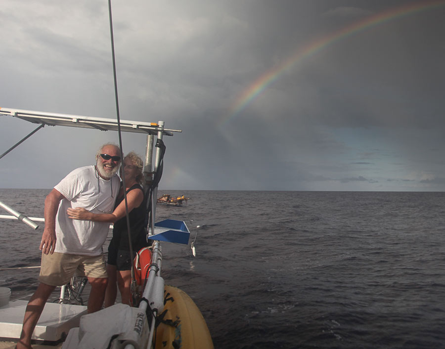 Steve and Cheryl on Gershon II, in the Solomon Islands
