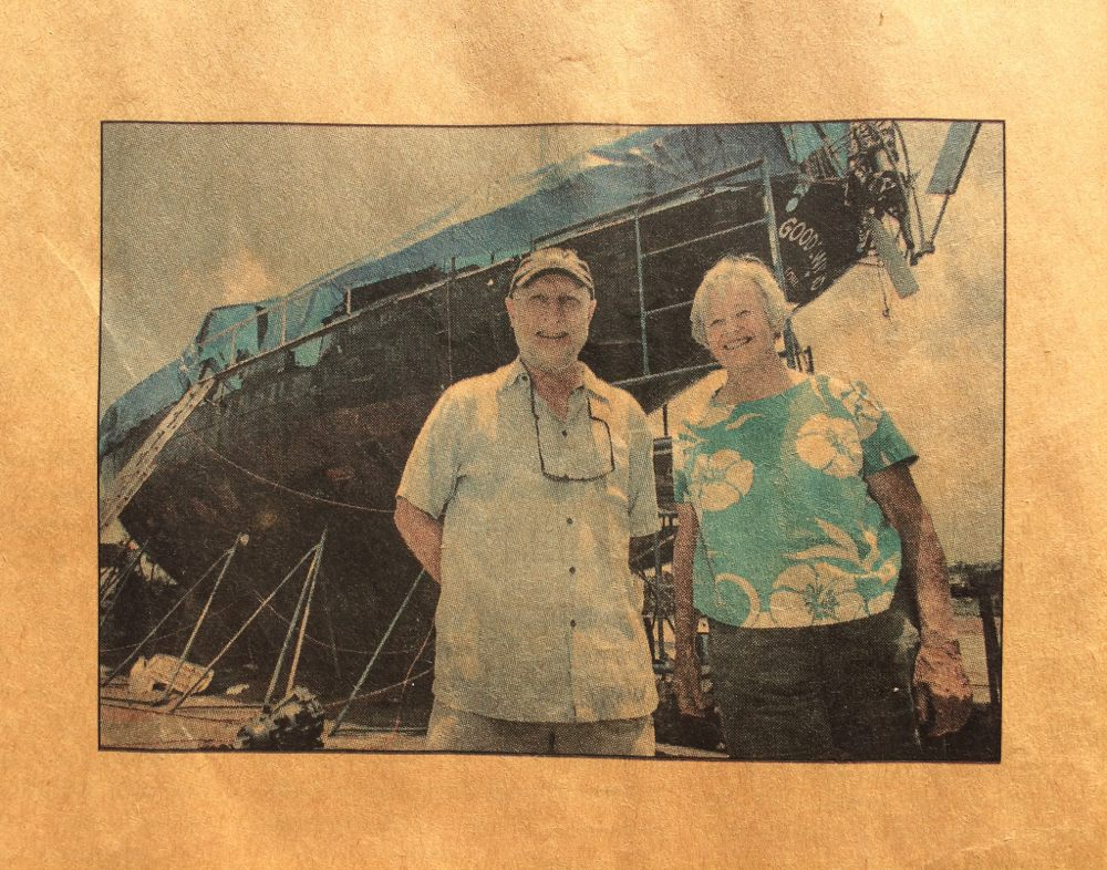 Terry Causey and Nancy Griffith in West Hawaii Today article about Goodewind.