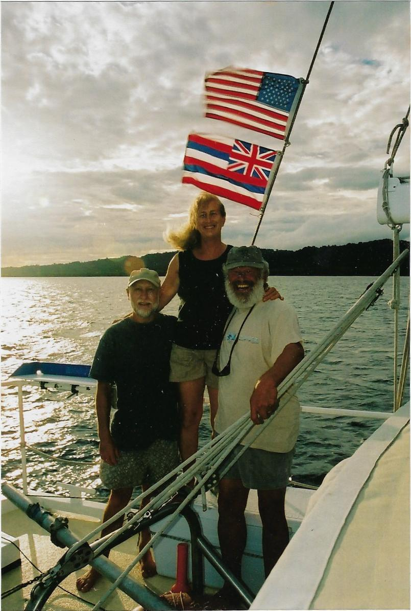 Steve, Cheryl and Terry on board Gershon ll at Taumako Island, Solomon Islands 2006